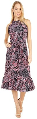 MICHAEL Michael Kors Paisley Ruffle Neck Midi Dress (Geranium) Women's Dress
