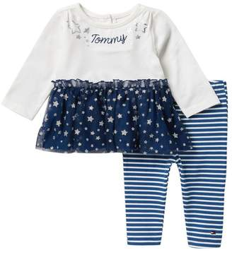 Tommy Hilfiger Tulle Tunic & Striped Leggings Set (Baby Girls 12-24M)