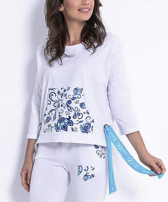 Fobya Women's Sweatshirts and Hoodies WHITEPATTERN - White & Blue Floral Kangaroo-Pocket Tie-Side Sweatshirt - Women