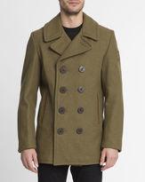 Schott NYC Khaki Made in USA Wool Pea Coat