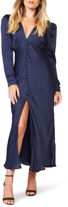 Bardot Rylee Long Sleeve Satin Maxi Dress