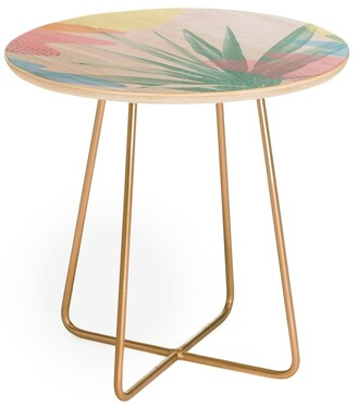 Deny Designs Emanuela Carratoni Geometric Palm Round Side Table