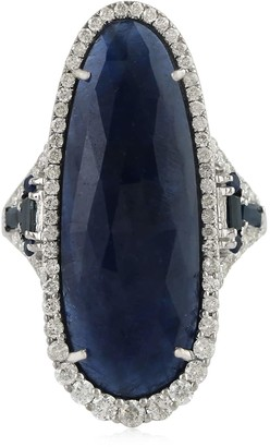 Artisan 18K Gold Ring With Sliced Blue Sapphire & Pave Diamonds