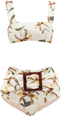 Adriana Degreas High-rise Leopard Orchid-print Bikini - Womens - White Print