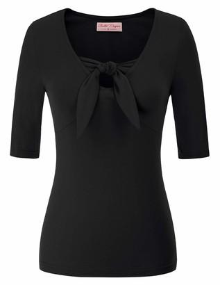 Belle Poque Women Retro Half Length Sleeves Front Knot Basic Shirts Blouses Black#887 S