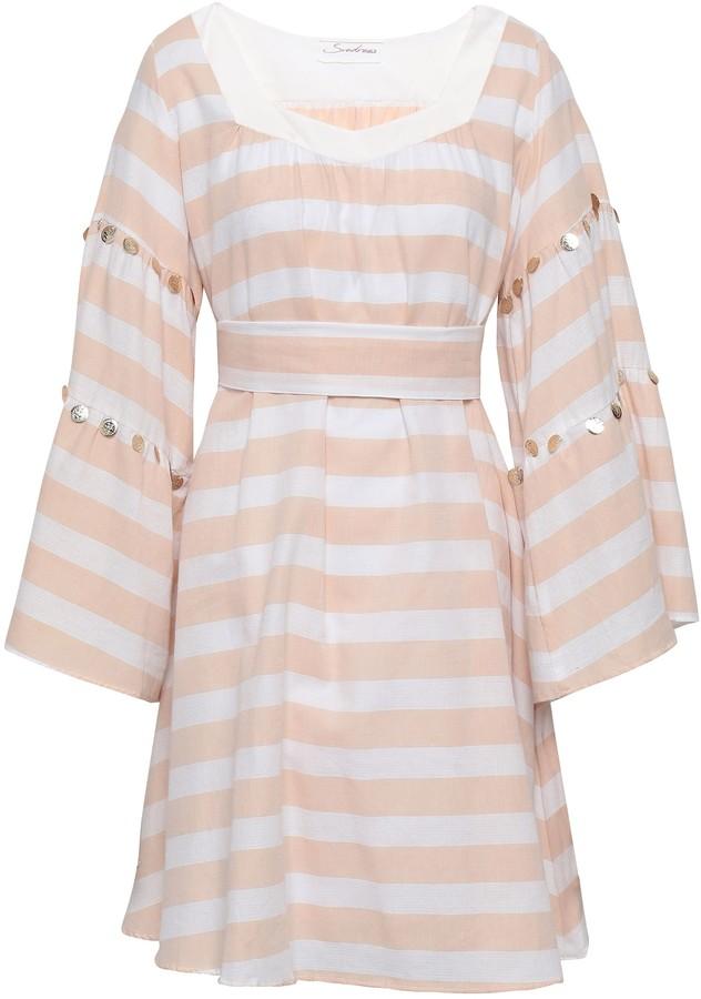 SUNDRESS Perla Embellished Striped Cotton-gauze Mini Dress