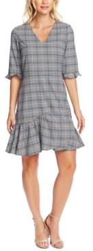 CeCe Plaid V-Neck Flounce Dress