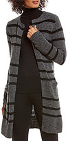 M.S.S.P. Open Front Long Striped Wool Blend Cardigan