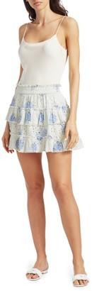 LoveShackFancy Bliss Floral Eyelet Tiered Skirt