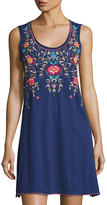 Johnny Was Floral-Embroidered Tank Dress, Navy