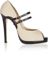 Oscar de la Renta Zucca croc-effect leather and linen pumps