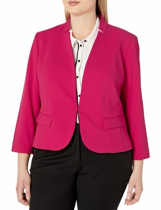 Nine West Women's Plus Size Solid Crepe Kiss Front Jacket