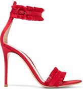 Gianvito Rossi Portofino Fringed Satin Sandals - Red