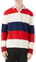 Gucci Striped Pique Rugby Shirt with Dragon Embroidery
