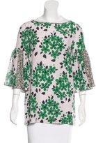 Suno Silk Floral Print Top