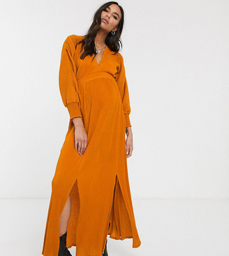 Asos DESIGN Maternity long sleeve shirred waist maxi dress in rib in orange