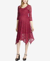 Jessica Simpson Maternity Lace Handkerchief-Hem Dress