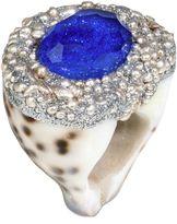 Mesi Jilly Cowrie Shell W Topaz, Blue Bali Ring
