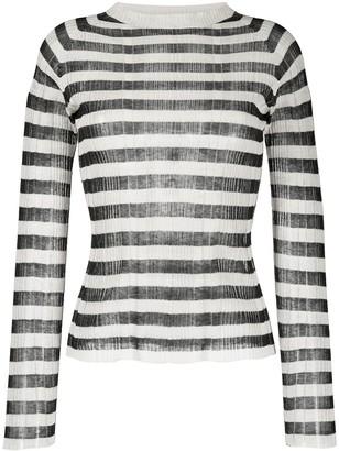 Alysi Semi-Sheer Striped Knit Top