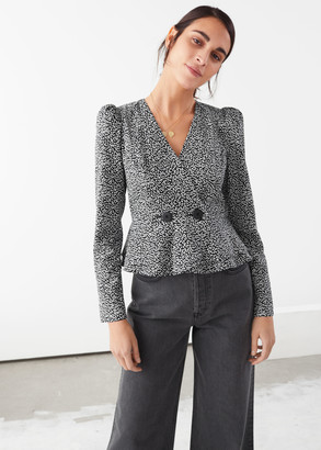 And other stories Peplum Duo Button Wrap Blouse