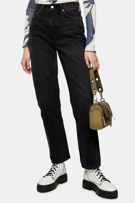 Topshop Washed Black Dad Jeans