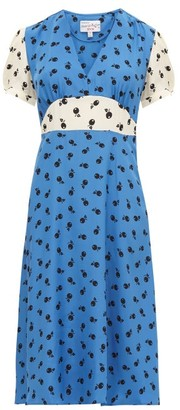 HVN Paula Cherry-print Silk Midi Dress - Blue Multi