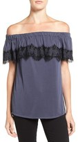 Ella Moss Women's 'Isabella' Lace Trim Off The Shoulder Top