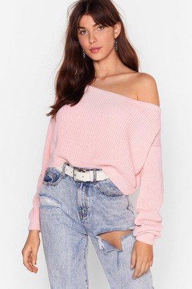 Nasty Gal Womens Something's Off-the-Shoulder Knitted Sweater - Pink