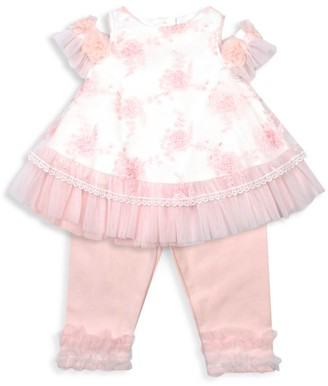 Kate Mack Baby's & Little Girl's Biscotti 2-Piece Floral-Embroidered Tulle Shift Dress & Leggings Set