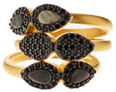 Freida Rothman Two-Tone Slated Noir CZ & Mother of Pearl Droplet Rings Set