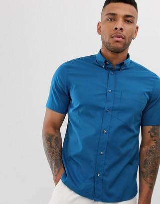 HUGO Ekilio chest logo poplin short sleeve shirt in blue
