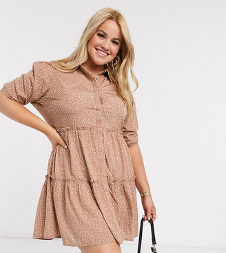 Influence Plus tiered smock dress in polka dot