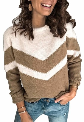 Ancapelion Womens Casual Long Sleeve Chunky Jumper V Stripe Colour Block Sweater Crew Neck Knit Pullover Tops Knitwear Khaki