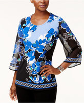 JM Collection Printed Embellished Top, Only at Macy's