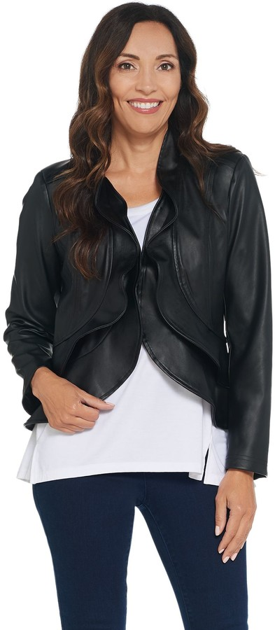 5c131c111 Belle By Kim Gravel Belle by Kim Gravel Faux Leather Cropped Jacket w/  Ruffle Trim