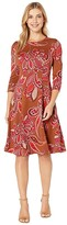 Donna Morgan Printed Stretch Crepe Flared Skirt Dress (Cedar/Cranberry) Women's Clothing