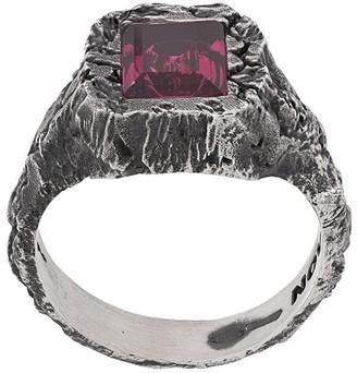Nove25 rectangular stone signet ring
