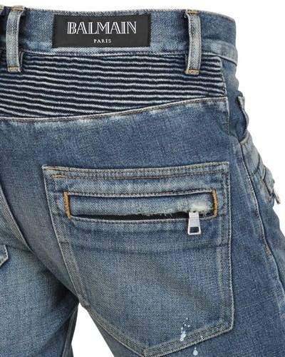 Balmain 18cm Painted Denim Biker Jeans
