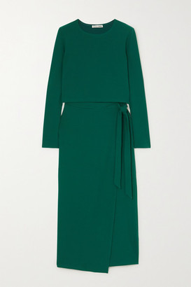 Reformation Vienna Ribbed Stretch-lyocell Top And Wrap Skirt Set - Emerald