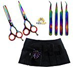 MeDusa New J2 Multicolor Barber Hairdressing Shears + Scissors Holster + Eyebrow Tweezers Kit For Professionals & Students