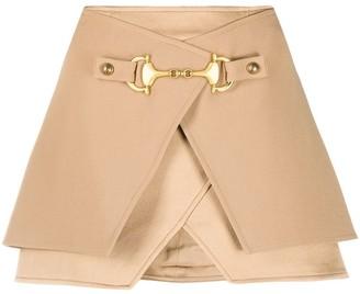 Balmain Horsebit Layered Mini Skirt