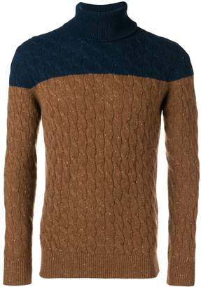 Eleventy two-tone cable knit sweater