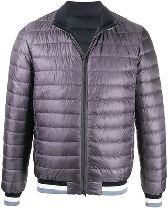 Herno Striped-Neck Quilted Bomber Jacket