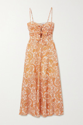Zimmermann Peggy Tie-detailed Paisley-print Linen Midi Dress - Orange