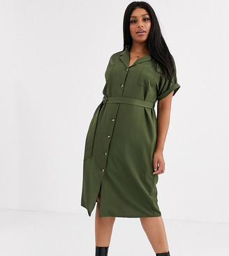 New Look Curve belted shirt dress