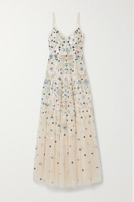 Needle & Thread Wildflower Sequined Tulle Gown - Beige