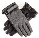 Grey Herringbone and Black Leather Gloves