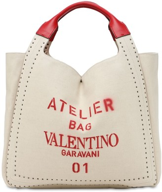 Valentino Atelier Canvas Tote Bag