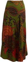 Aller Simplement Green & Orange Geometric Maxi Skirt - Plus Too