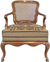 One Kings Lane Vintage Caned Armchair w/ Floral Seat